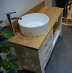 "1200mm x 540mm x 730mm -Washstand with oak countertop, shelf and offset basin in Fired Earth ""Flake White"" satin eggshell"